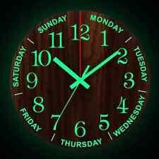 12 Inch Luminous Wall Clock Wooden Silent Non-Ticking w/ Night Light Living Room
