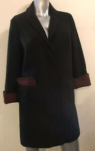 8 UK TOPSHOP $298 Warm Black Maroon Fold Up Cuffs Pockets Winter Overcoat Jacket