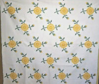 ROSE ANTIQUE QUILT  OHIO  MADE HAND APPLIQUED AND HAND QUILTED
