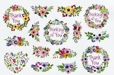 SWEET FLORAL SAYINGS STICKERS USA MADE #29 Thinking of You  Thank You FAST SHIP!