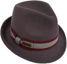 Womens Fall Winter 100% Wool Felt Floppy Wide Brim Fedora Trilby Hat Grey