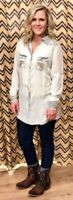 Scully Women's Vintage Blue Embroidered Snap Up Shirt HC402