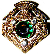 VINTAGE VICTORIAN ANTIQUE GOLD TONE CRYSTAL AND GREEN COLOR GLASS PIN BROOCH