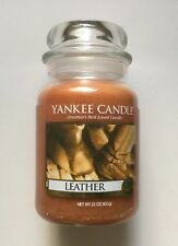 Yankee Candle LEATHER 22 oz. LARGE JAR HTF SCENT FREE SHIPPING