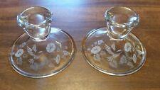 One Pair - Vintage Avon - 24% Lead Crystal - Hummingbird - Candlestick Holders