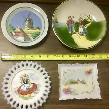 lot of 4 vintage Dutch windmill theme porcelain collector plates