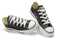 CONVERSE All Star Nere Basse classiche in pelle suola bianca sneakers leather