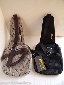 New Mini Rucksack Sling Over Cross Body Messenger Fabric Bag in Black