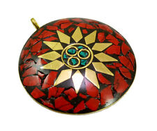 Nepal Fashion Handmade Red Coral Brass Plated Tibetan Jewelry Pendant KBP501