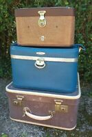 Vintage 1950-70s VANITY CASE SUITCASE STACK Film Prop/Wedding/Display/Home Decor