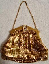 Vintage Whiting & Davis Mesh Gold Tone Bag Rhinestone Clasp Coin Purse Bag