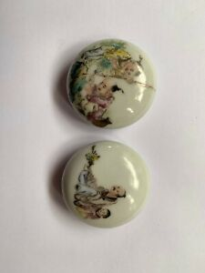 Set Of 2 Small Antique Chinese Famille Rose Porcelain Inbox With Lid 20C