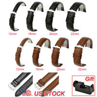 Men's Genuine Leather Watch Strap Band Buckle Black Brown 12mm 18mm 20mm 22mm US