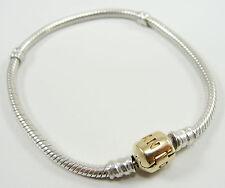 Pandora 14K Yellow Gold Sterling Silver Snake Chain Charm Bracelet Barrel Clasp