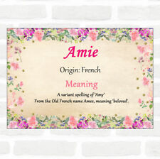 Amie Name Meaning Floral Certificate