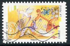 TIMBRE FRANCE  AUTOADHESIF OBLITERE N° 1242 / L'OUIE / SON EMIS D'UNE HARPE