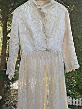 Antique Lace Long Jacket Long Sleeves Pearl Button Snaps to Waist Small
