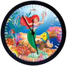 Disney Little Mermaid Ariel Black Frame Wall Clock Nice For Decor or Gifts W152