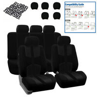 Universal 5 Sits Front+Rear Full Set Auto Car Seat Cover Cushion Protector Black