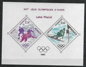 SMT, MONACO, 1980 Lake Placid olympic block, CV € 350 MNH
