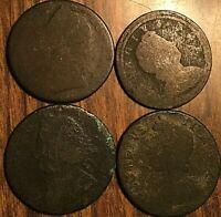 LOT OF 4 PRE-VICTORIA GB UK GREAT BRITAIN HALF PENNY COINS