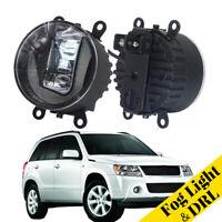 LED Daytime Running Lights Aluminum Cover Fog Lamp Fit For Suzuki Grand Vitara