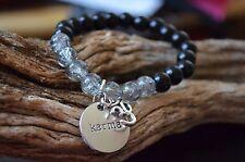 Silver Karma Om Aum Ohm Onyx & Quartz Crystal Gemstone Bead Bracelet Mala sz 6.5
