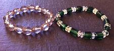 Beautiful Set 2 Elastic Clear Green Stretch Beads Bracelet Strand String