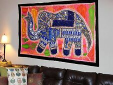Vintage Elephant Wall Hanging Cotton Hand Embroidered Patchwork Tapestry Y07