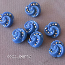 *Vintage 7 40's Blue Swirl Glass Buttons with Silver Dots RARE 1.5cm