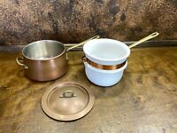 VINTAGE Portugal COPPER and BRASS Double Boiler Pan / Pot Ceramic 2qt sauce