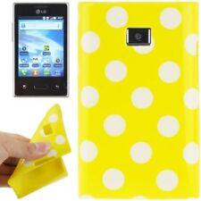 TPU Case für LG E400 Optimus L3 in gelb mit weißen Punkten Etui Hülle Cover