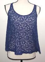 Arizona Jean Co. Womens Top Size Small S Blue Lace Shirt Sleeveless Blouse Tank