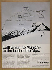 1970 Lufthansa Airlines Ski the Alps Tour munich to resorts map vintage print Ad
