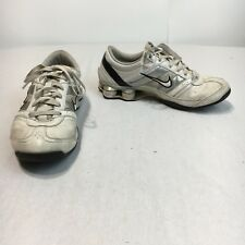 Nike Shox Womens 8.5 White Silver Leather Lace Up Athletic Running Walking Shoes