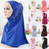 Women Muslim Caps Hijab Scarf Islamic Wrap Arab Shawl Hat Head Cover Turban