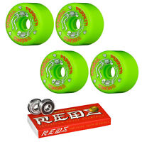 Powell Peralta Skateboard Wheels G-Bones Green 64mm + Bones Super Reds Bearings