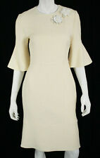 FENDI Ivory Wool Silk Fur Floral Detail Bell Sleeve Sheath Dress 42