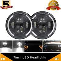 7 Inch Led Headlight Hi/Lo Beam Amber Turn Signal Halo For Chevrolet G10 C10 C20