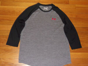 UNDER ARMOUR HEATGEAR GRAY/BLACK 3/4 SLEEVE FITTED JERSEY MENS LARGE EXCELLENT