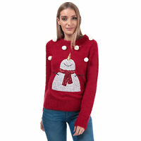 Womens Brave Soul Sequin Snowman Christmas Jumper In Red