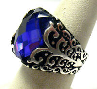 STERLING SILVER AMETHYST CHECKERBOARD CUT WIDE RING SIZE 7.75  14 GRAMS SYBOLL