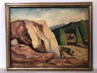 🔥 Antique California Plein Air Modern Impressionist Landscape Oil Painting 1939