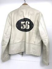 Vintage Lee Trevor White Leather Motorcycle Jacket - Unusual Label  56 on Back
