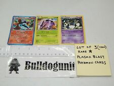 Lot of 3 Plasma Blast Rare Pokemon Cards Holo Volcarona Golurk Genesect