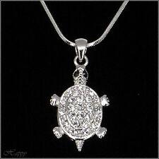 Turtle Tortoise Necklace Pendant Children Jewelry Charm Chain Clear Rhinestone
