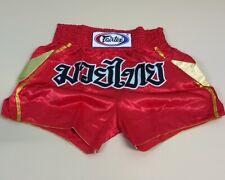 SHORTS FAIRTEX MUAY THAI FIGHT KICK BOXING MMA RED GOLD ADULT XL SATIN BS0606