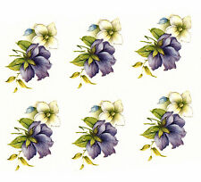 Ceramic Decals Purple & White Violet Pansy Floral 1 5/8 inch