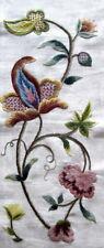 Vintage Crewel Work Panel Jacobean Style Embroidery wool long panel 74cm x 25cm