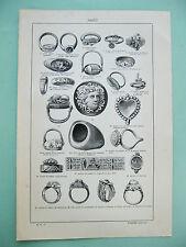 stampa antica old print ANELLO RING ROMO ETRUSCO INGLESE DARNLEY LUTERO 1931